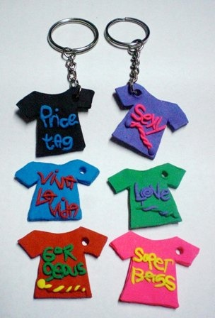 clay keychains  -  Rubber letters and glaze all when done so it's shiny and hard.