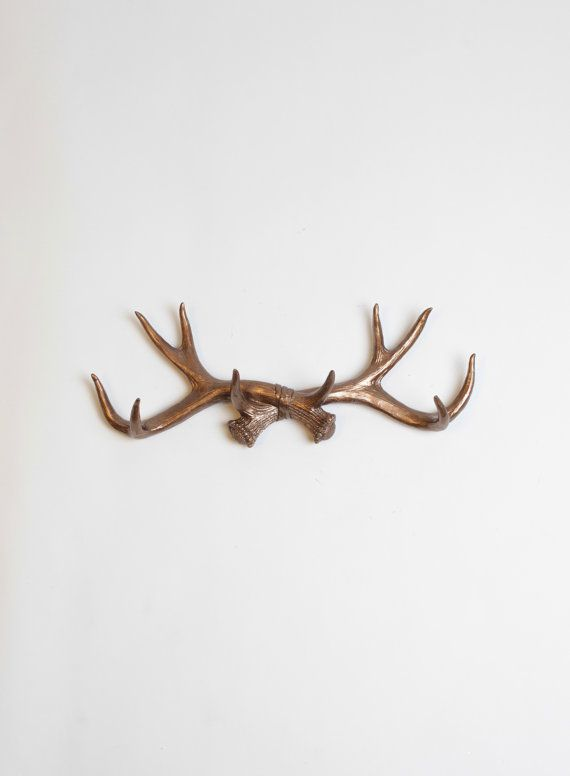 Jewelry Holder / Faux Animal Antler Wall Hook In Bronze - Rustic Faux Antlers Hanger Rack & Jewelry Organizer by White Faux Taxidermy Decor