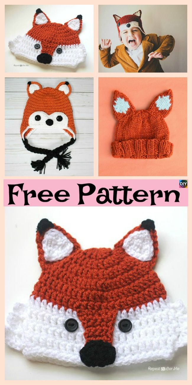 8 Knit Crochet Fox Hats Free Patterns Crochethats Pinterest