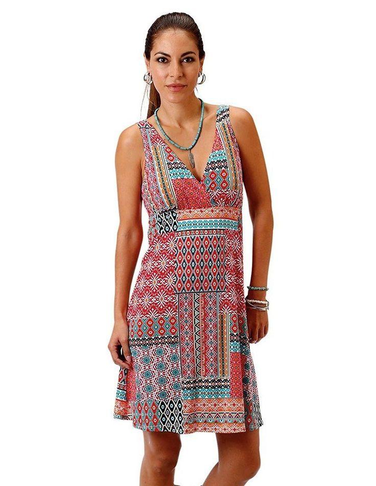 Roper Womens 0978 Floral Aztec Patch Print Tank Dress