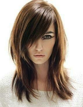 Women's long haircut, layered fringe bangs