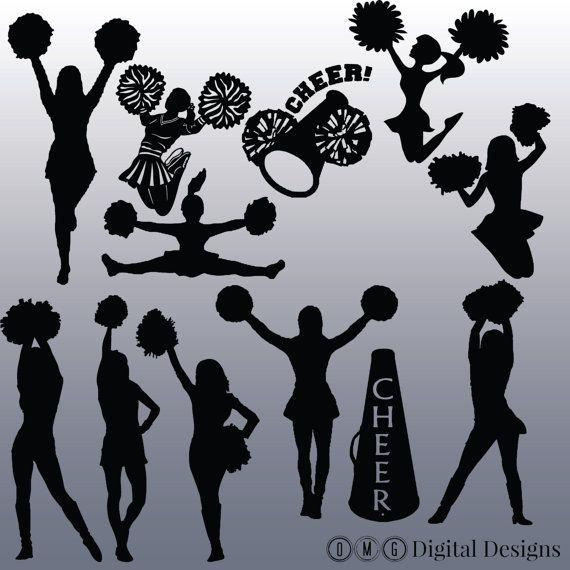 12 Cheerleader Silhouette Digital Clipart by OMGDIGITALDESIGNS