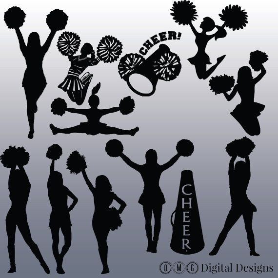 12 Cheerleader Silhouette Digital Clipart by OMGDIGITALDESIGNS
