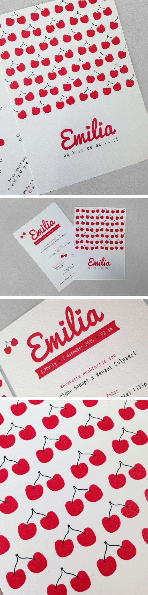Geboortekaartje Emilia, de kers op de taart, kers, cherry, rood