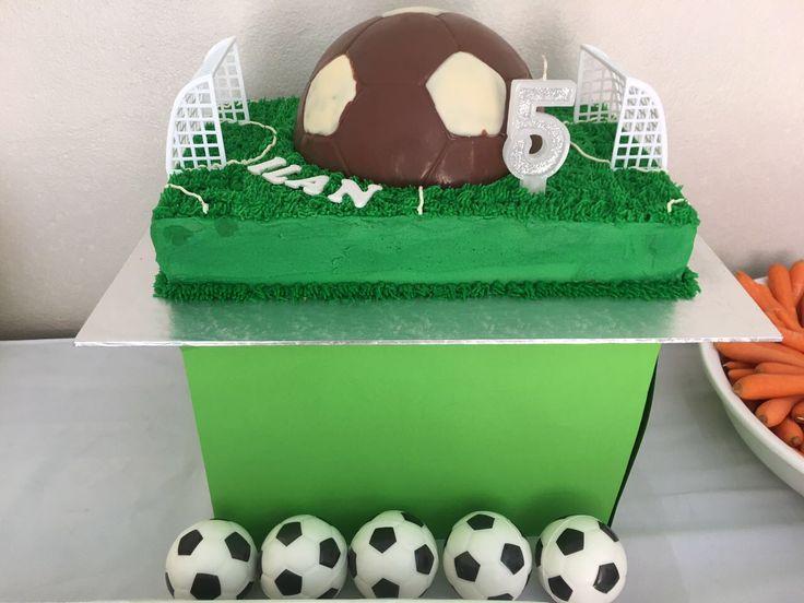 Soccer smash birthday cake