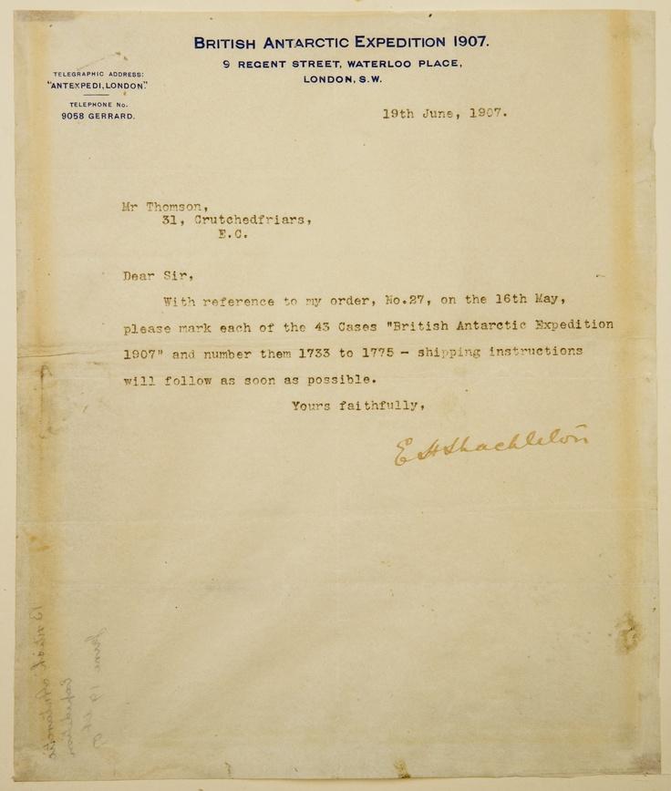The whisky order letter from Ernest Shackleton Sir Ernest - order letter