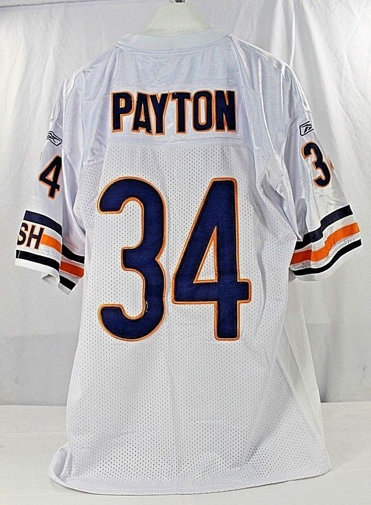 0c084e11a Chicago Bears Walter Payton  34 White Jersey Authentic Reebok 50 Stitched   Reebok  ChicagoBears