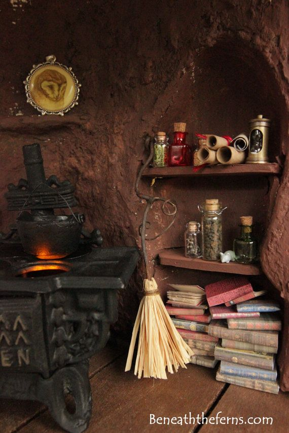 Miniature witch broom Halloween dollhouse by Beneaththeferns