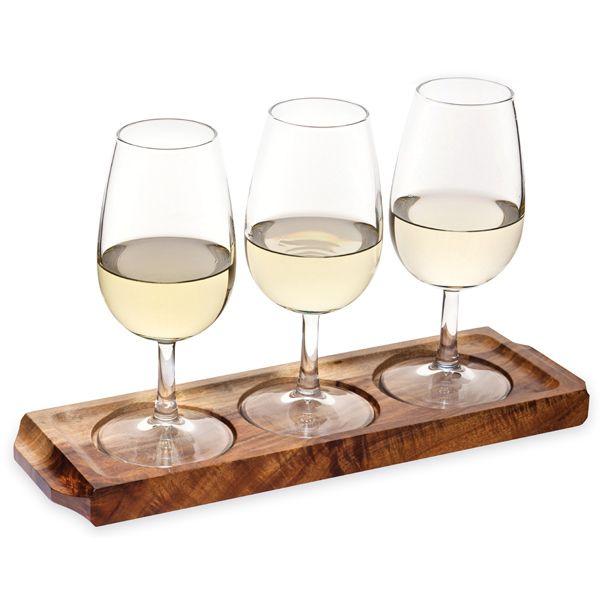 Utopia Acacia Wood Wine Flight With Wine Glasses Wooden