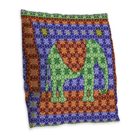 Colorful Elephant Burlap Throw Pillow
