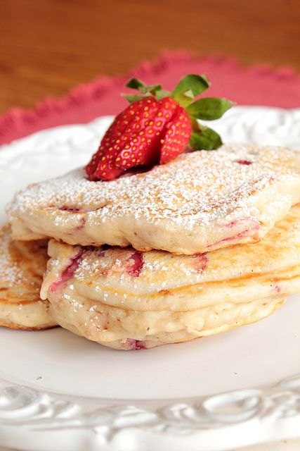 Strawberry Pancakes ***Perfect for summer. I didn't fold in the strawberries, just embedded them once the batter was on the pan. So good!