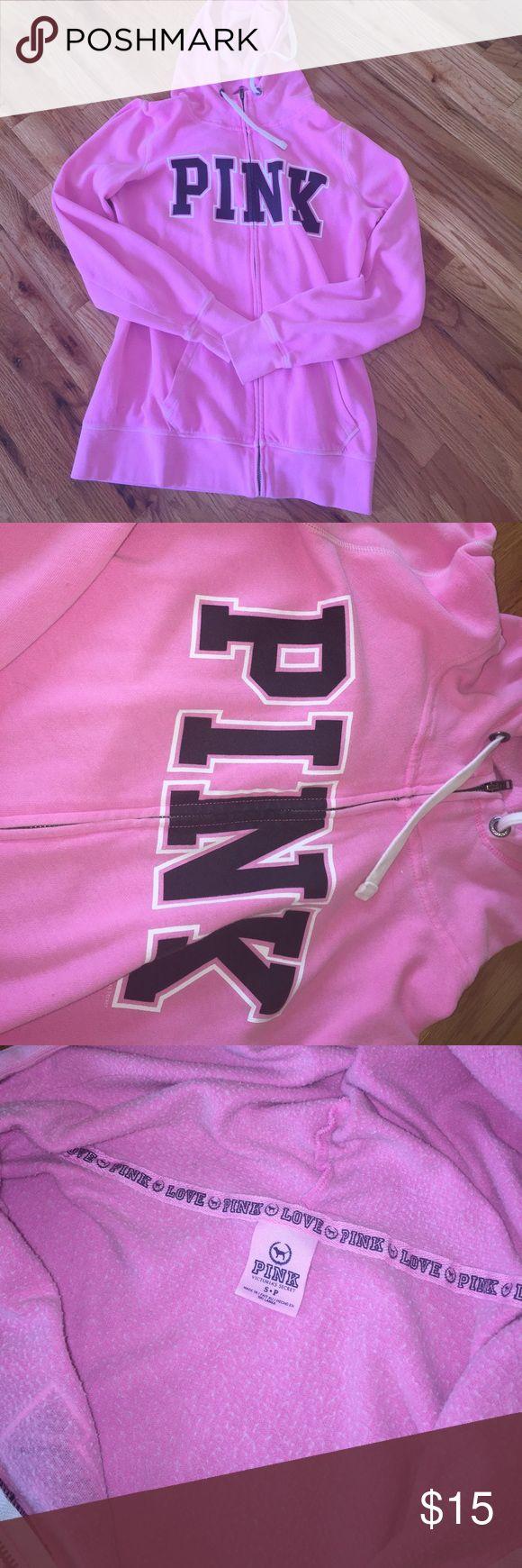 Victoria Secret Pink zip up hooded sweatshirt Pink brand, pink color zip up hooded sweatshirt PINK Victoria's Secret Tops Sweatshirts & Hoodies