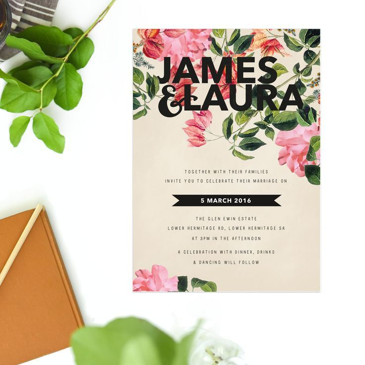 Modern Floral Wedding Invitations – Foliage by Sail and Swan Flower Wedding Invitations Garden Wedding Invites Bold Font Contemporary Simple Wedding Stationery Australia