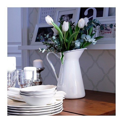 Give your Easter flowers some country charm by displaying them in the SOCKERÄRT vase.: Dining Table, Ikea Sockerärt, Ikea Playbook, 19 99 Vase, Center Piece, White Pitcher, Food Table