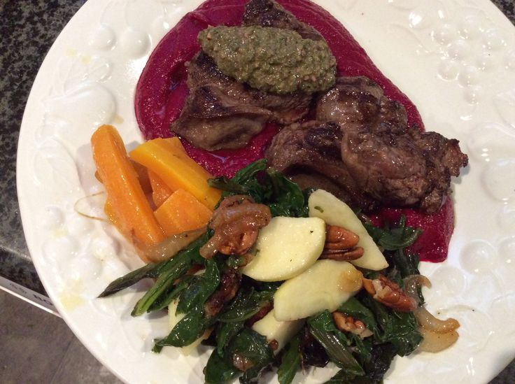 Seared venison on Beetroot and Apple purée with beet green pesto and wilted silverbeet and Apple salad  Autumn garden