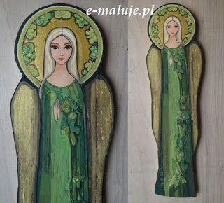 e-maluje Anioły ...: Łagodna ... Anioł Stróż ... Ikona Autorska Zielenią Pisana