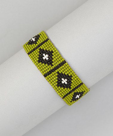 Take a look at this Olive & Black Diamond Beaded Bracelet by Ten79 on #zulily today!