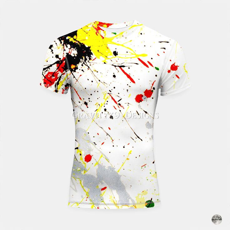 * Paint Splatter Short Sleeve Rashguard Top for Men by # ...
