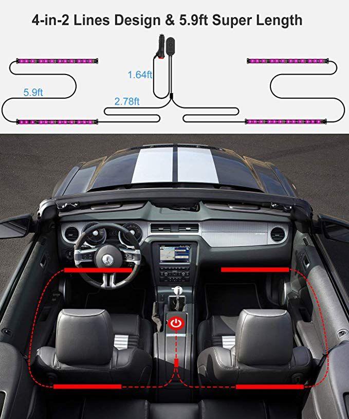 Interior Car Lights Govee Car Led Strip Light Upgrade Two Line Design Waterproof 4pcs 4 The Strip