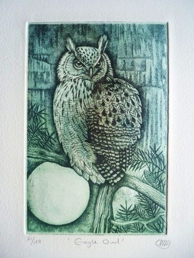 Eagle Owl by Louise Scott (etching)