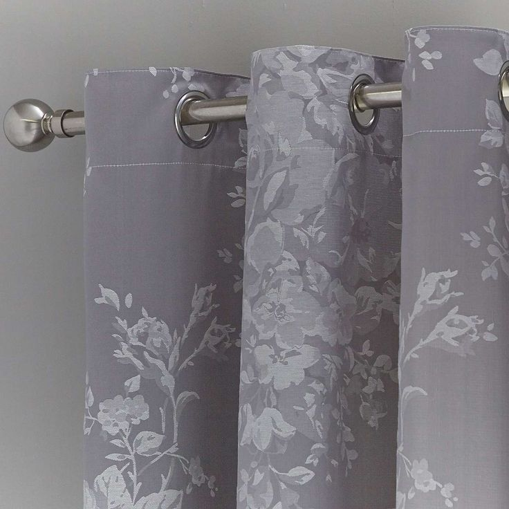 Grey Laura Thermal Eyelet Curtains | Dunelm
