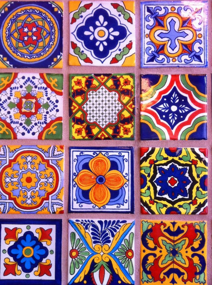 oh my god. this. this is the perfect way to bring that subtle hacienda style in without it being A Thing. just a few tiles that I can snap up at home and we can arrange them on the wall in the kitchen, or maybe on a hanging panel we can put on the wall behind a chair. just a lovely pop of color!