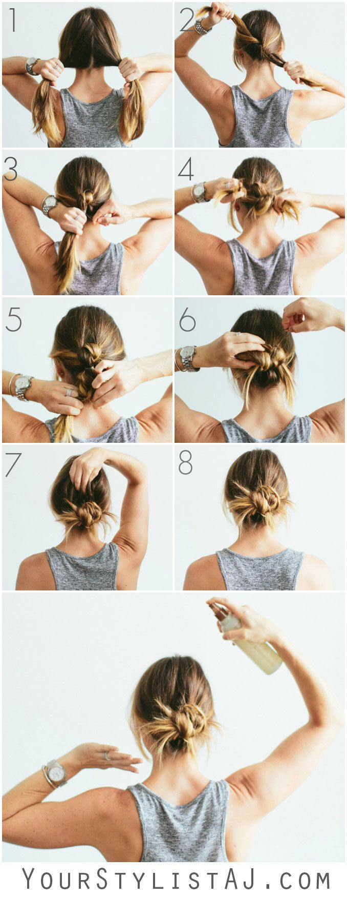 Knot Bun Hair Tutorial