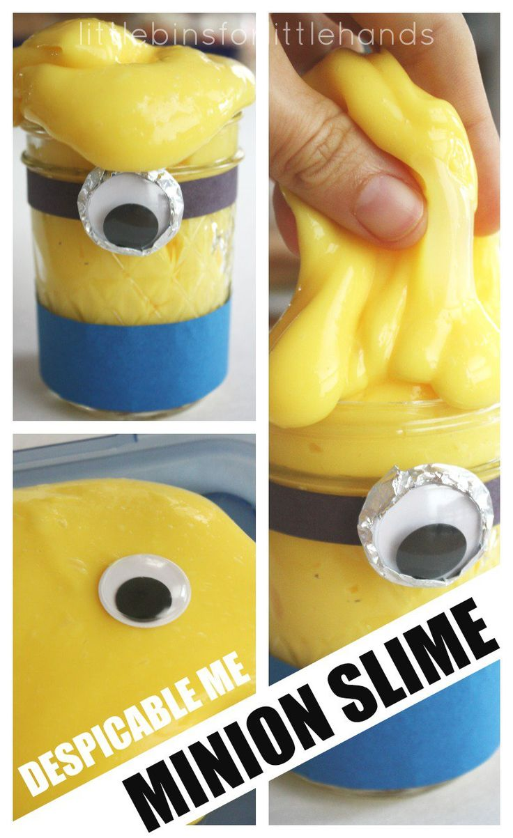 Make easy minion slime for Despicable Me fans! Liquid starch slime recipe will make awesome minion slime in 5 minutes. Fun slime for science sensory play.