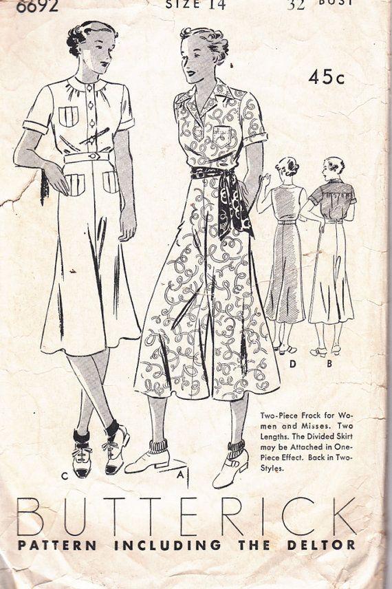 1930s Sewing Pattern Vintage Sportswear Split skirt and blouse Bust ...