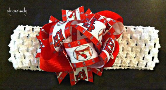 St Louis Cardinals Baby Girl Bow Headband by StyleMeLovely00, $6.00
