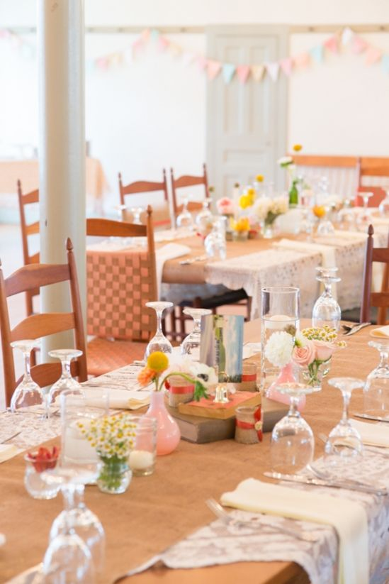 Burlap and lace with eclectic and colorful table decor. #weddingreception #tabledecor #weddingchicks Captured By: Rodeo & Co Photography ---> http://www.weddingchicks.com/2014/04/28/reveal-your-babys-gender-with-this-cute-wedding-idea/