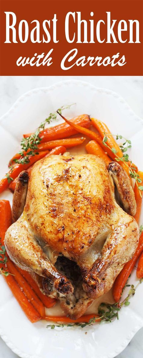 Roast Chicken with Carrots, roast a whole chicken in an oven-proof skillet, surrounded by carrots and garlic, and stuffed with lemon and thyme. Lovely presentation for a special dinner, easy enough for a midweek meal!