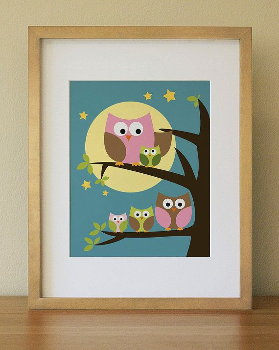 Owl  Baby Nursery Wall Art  Children Wall Art by Lulliloola, Iz's room