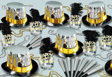 """This assortment for 50 people includes: 25  Printed Hi-Gloss Foil Hi-Hats """"Happy New Year"""", 25 Glittered Plumed Tiaras """"Happy New Year"""", 50 Foil Horns 9"""", 25 Party Beads 33"""""""