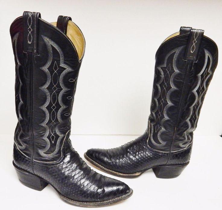 TONY LAMA Boots Snakeskin Python Reptile Exotic 8609 Black Mens 6 B W 8(?) VTG #TONYLAMA #WesternCowboyBoots #ALLOccasion