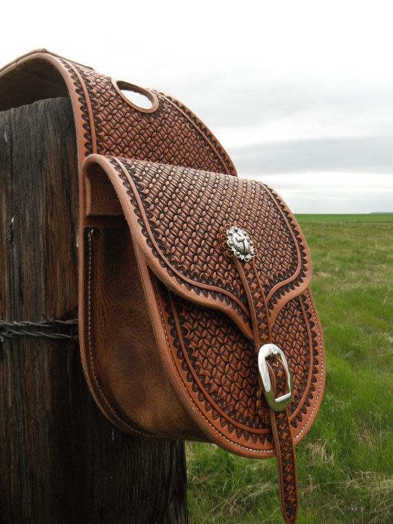 Custom Made To Order Western Leather Geometric Stamped Saddlebags Saddle Bags by NeelyLeatherwork, $425.00 USD