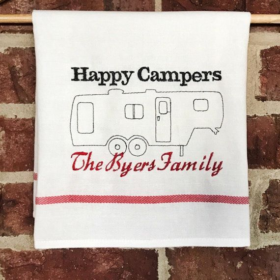 Any thread color available . Personalized Fifth Wheel Camper Kitchen Hanging Towel . 20 x 26 inches . Cotton Towel with Hanging Loop . Machine Embroidery Flour Sack Dish Towel . Personalized with Family Names  + - + I personally machine embroider all items and ship the highest quality product to you. We regard quality as a vital element of handmade goods.  + - + This custom flour sack kitchen towel is perfect for the all kitchens including camping and RV lovers! The flour sack cotton dries…