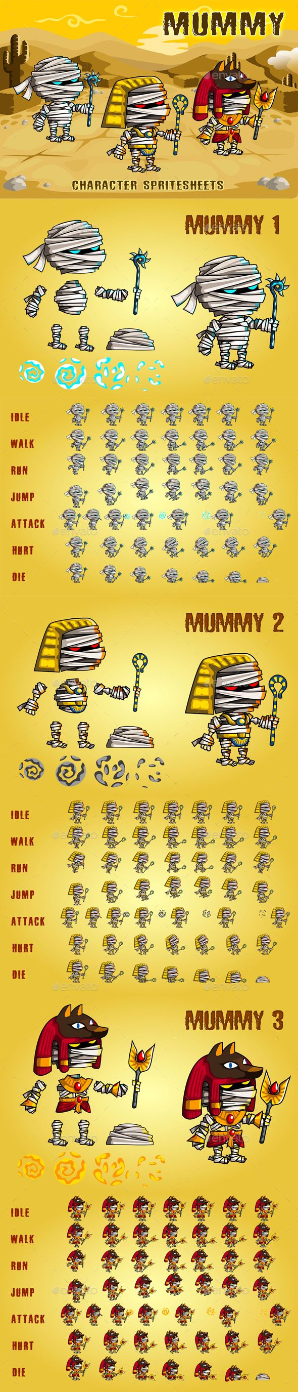 #Mummies #2D #Game #Character #Sprite #Sheet #template - #mummy #Sprites Game #Assets #design #Ui #Ux. download here: https://graphicriver.net/item/mummies-2d-game-character-sprite-sheet/20199417?ref=yinkira