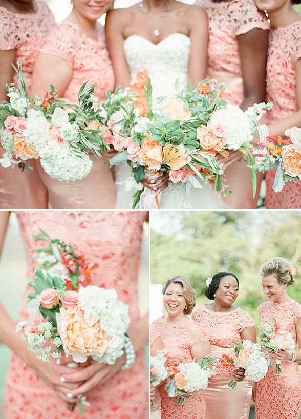 Beautiful Peach Color Bridesmaid Dresses And Bouquets