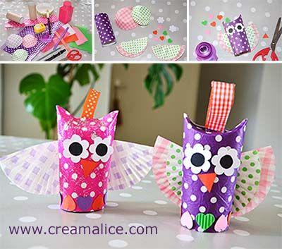 ❀ ✄ DIY Bricolage Enfants Récup Chouettes / DIY Toilet Paper Roll Owl ✄ ❀   www.creamalice.com