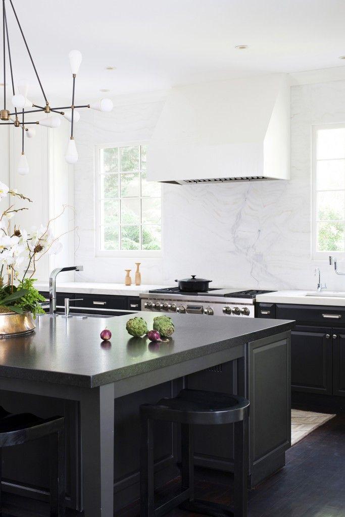 Gorgeous Modern White Kitchen With A Black Kitchen Island By Ella Scott  Design, Via Part 81