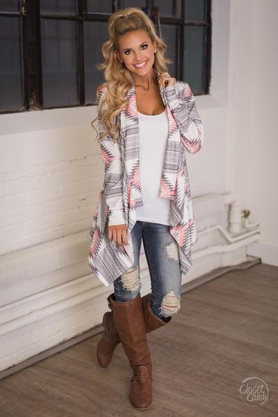 Stay Awhile Tribal Cardigan - Pink