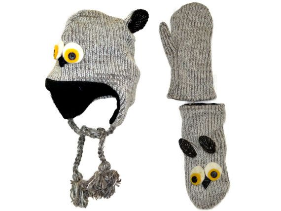 Grey owl animal knit hat with mittens set  free by HatsMittensEtc