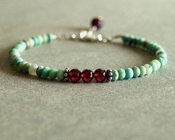 Garnet Opal Bracelet, Peruvian blue opals, deep red garnet, sterling silver, gemstone bracelet, natural red garnet and blue opal jewelry   https://www.etsy.com/listing/251290168/garnet-opal-bracelet-peruvian-blue-opals