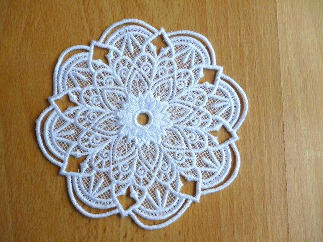 Machine embroidered lace doily. by Trufio on Etsy