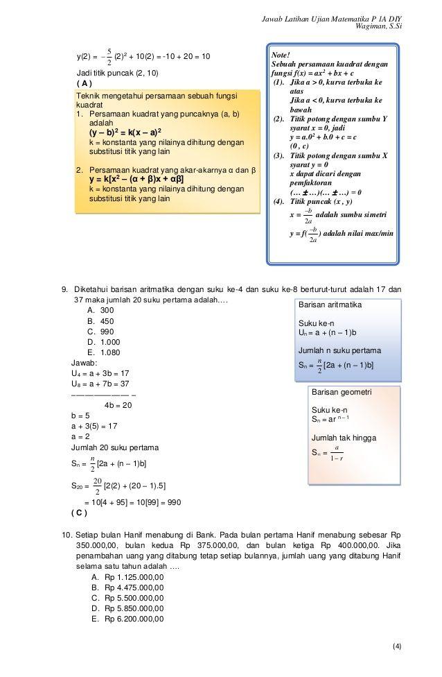Soal Latihan Dan Pembahasan Un Matematika Smk 2017 Dan Nilai Janji