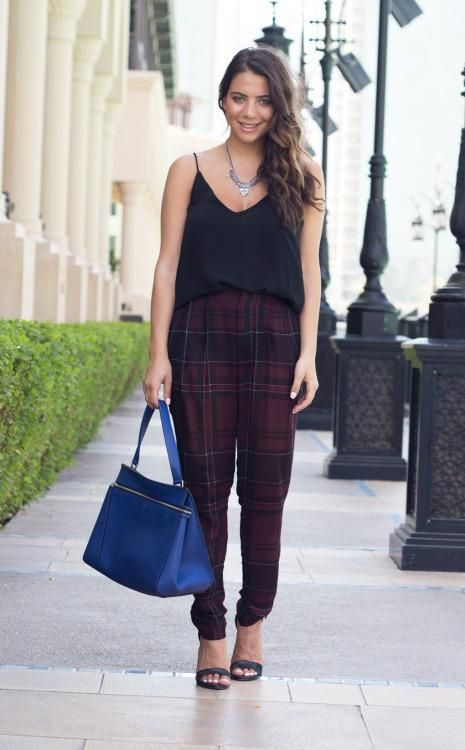 Patterned Pants: 20 Outfit Inspiration Photos - tapered plaid pants, loose v-neck spaghetti strap top, electric blue handbag, and ankle strap heels