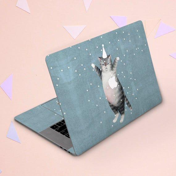 Macbook sticker funny Macbook skin cat Light blue skin Snow Winter cover Macbook skin cute Kawaii da