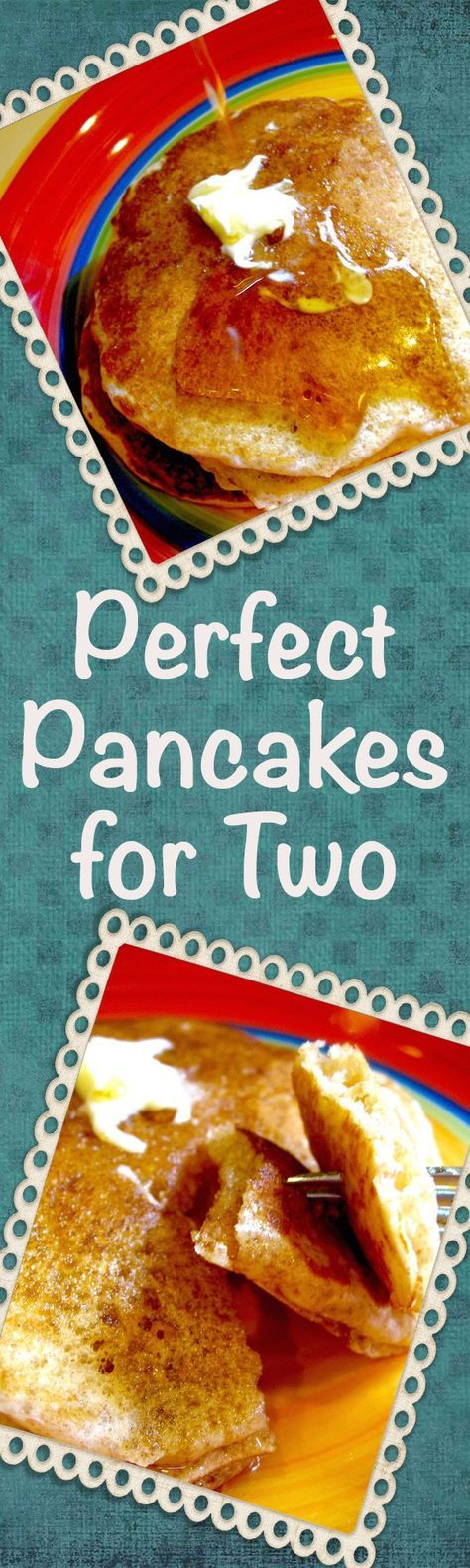 Pancakes for Two are light and fluffy, not cake-y or dry. This recipe for tender pancakes is easy to make and fabulous with any of your favorite toppings.   delishable.net