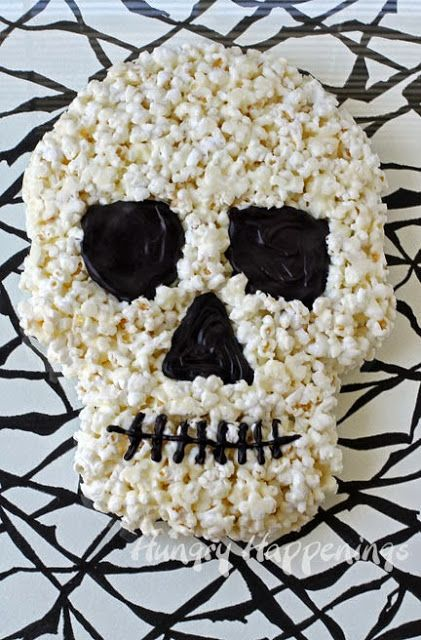 Halloween Dessert - White Chocolate Popcorn Skull